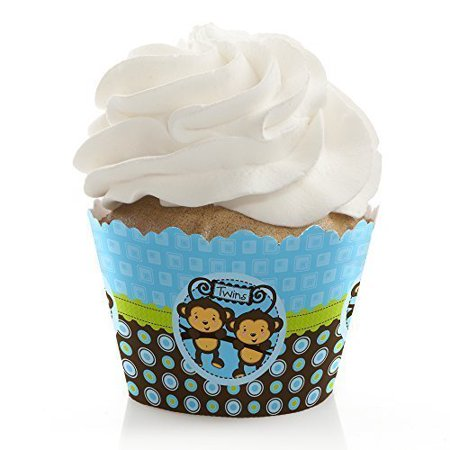 Twin Monkey Boys - Baby Shower or Birthday Party Cupcake Wrappers - Set of 12