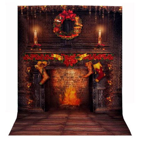 5x7FT Christmas Fireplace Photography Vinyl Fabric Photo Studio Props Backdrop Background](Christmas Fireplace Props)