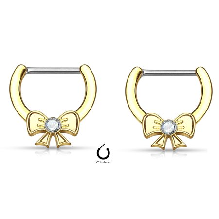 Nipple Rings Clickers Crystal Centered Ribbon Sold as a pair 14g