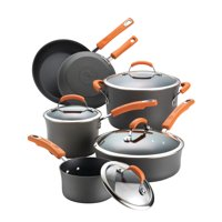 Rachael Ray Brights Hard-Anodized Nonstick Cookware Set, 10-Piece, Gray with Orange Handles