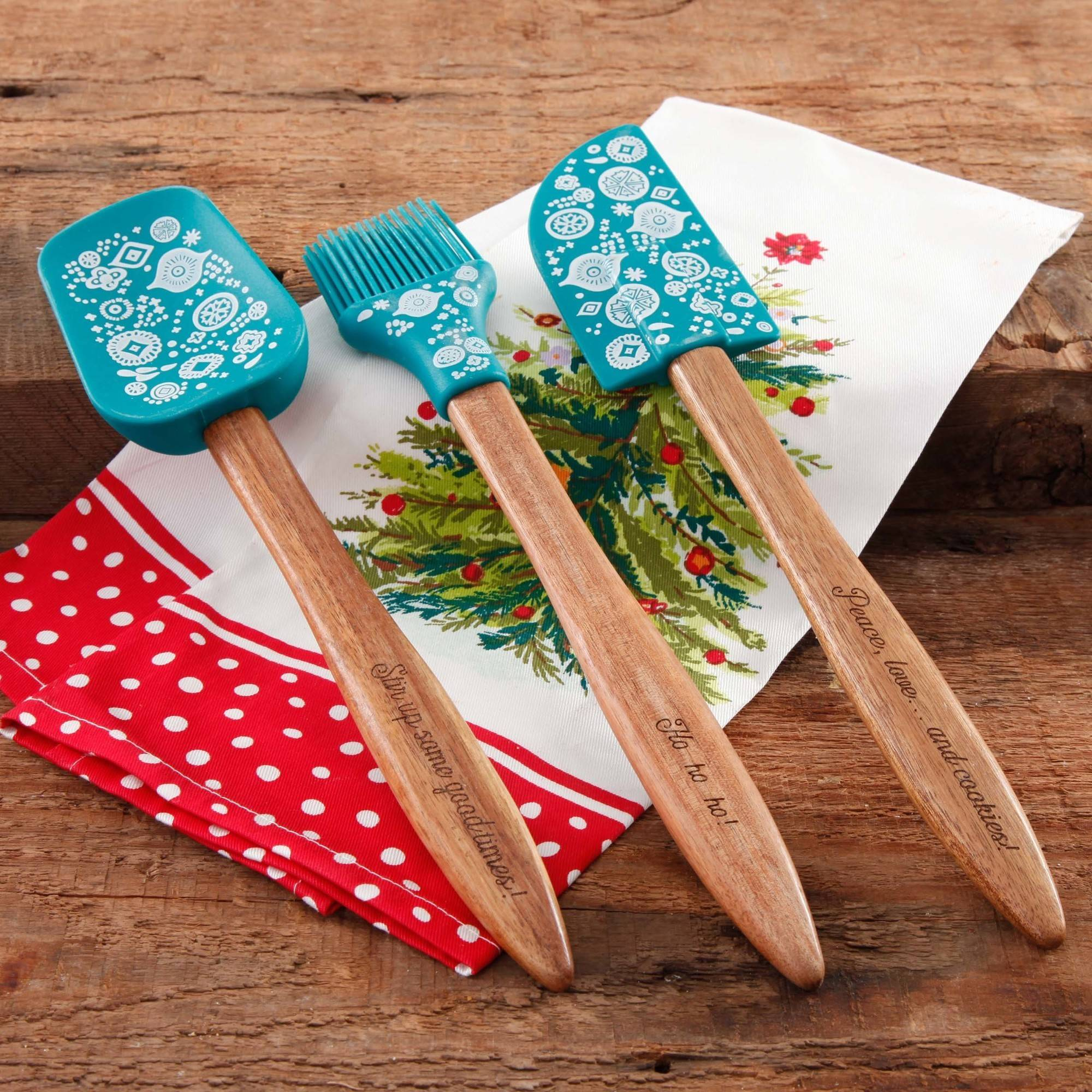 The Pioneer Woman 3-Piece Silicone Head Utensil Set with Acacia Wood Handle