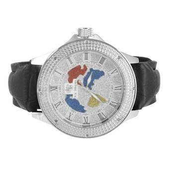 World Map Face Watch White Gold Tone Roman Numeric Hour Mark 2 Leather Bands KC