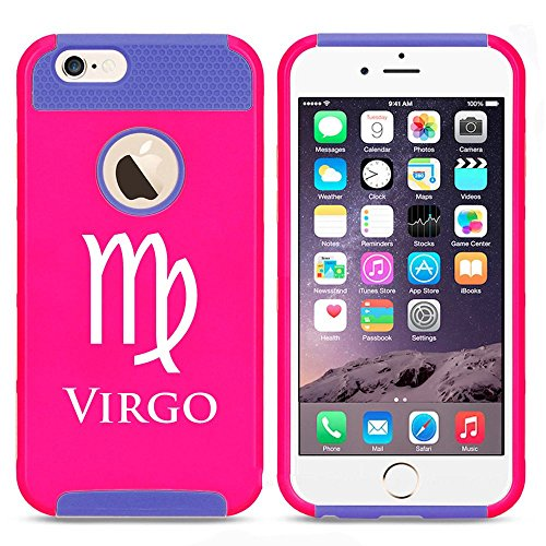 Apple iPhone 5c Shockproof Impact Hard Case Cover Horoscope Zodiac Birth Sign Virgo (Hot Pink-Blue ),MIP