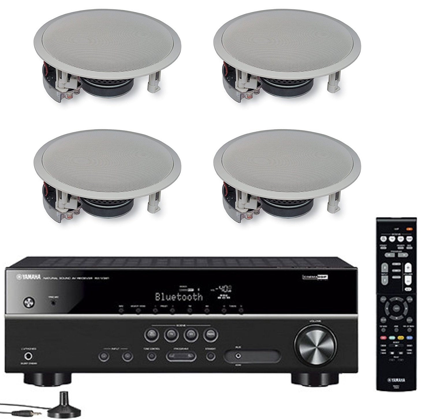 Yamaha 5.1-Channel Wireless Bluetooth 4K A/V Home Theater Receiver + Yamaha Easy-to-Install Natural Sound 2-Way Flush Mount In-Ceiling Speakers (Set of 4)