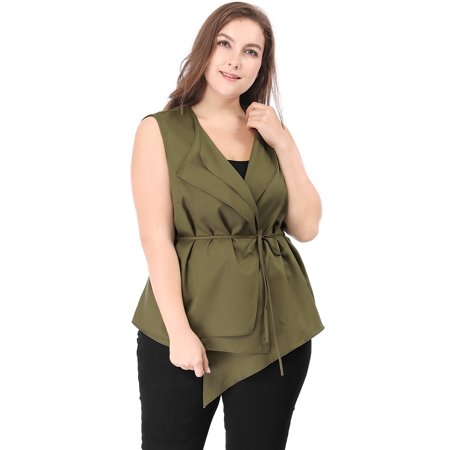 Women Plus Size Layered Collar Asymmetric Hem Belted Vest Green Belted Notched Collar Coat