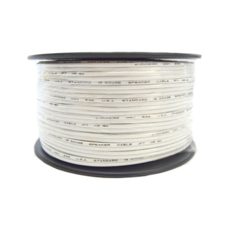 18 Gauge 250 Feet White Speaker Wire Zip Cord Stranded Copper Clad Aluminum