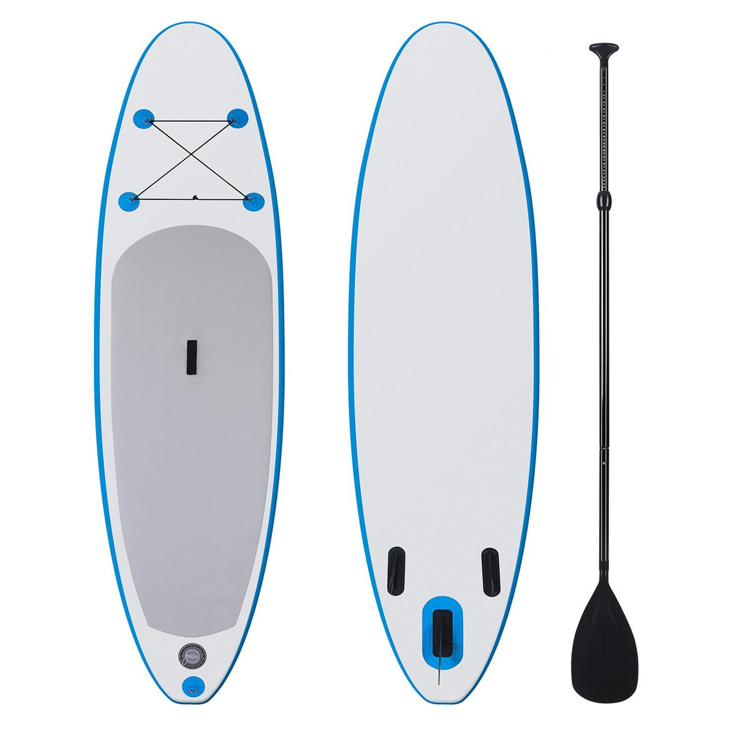 "Hascon 10' 6"" Inflatable SUP Blue Stand Up Paddle Board with Adjustable Paddle, Pump and Backpack"
