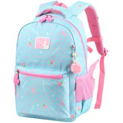 Vbiger Unisex School Backpack Adorable Student Shoulders Bag Trendy Printing School Bag Casual Outdoor Daypack for Primary School Students, Exquisite Printing and Pompon Decor, Sky Blue