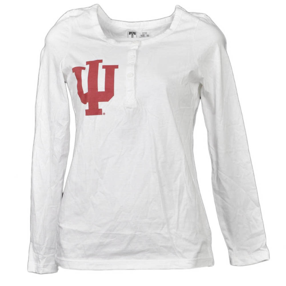 NCAA Indiana Hoosiers White Womens Adult Long Sleeve Tshirt Button Crew Neck XS