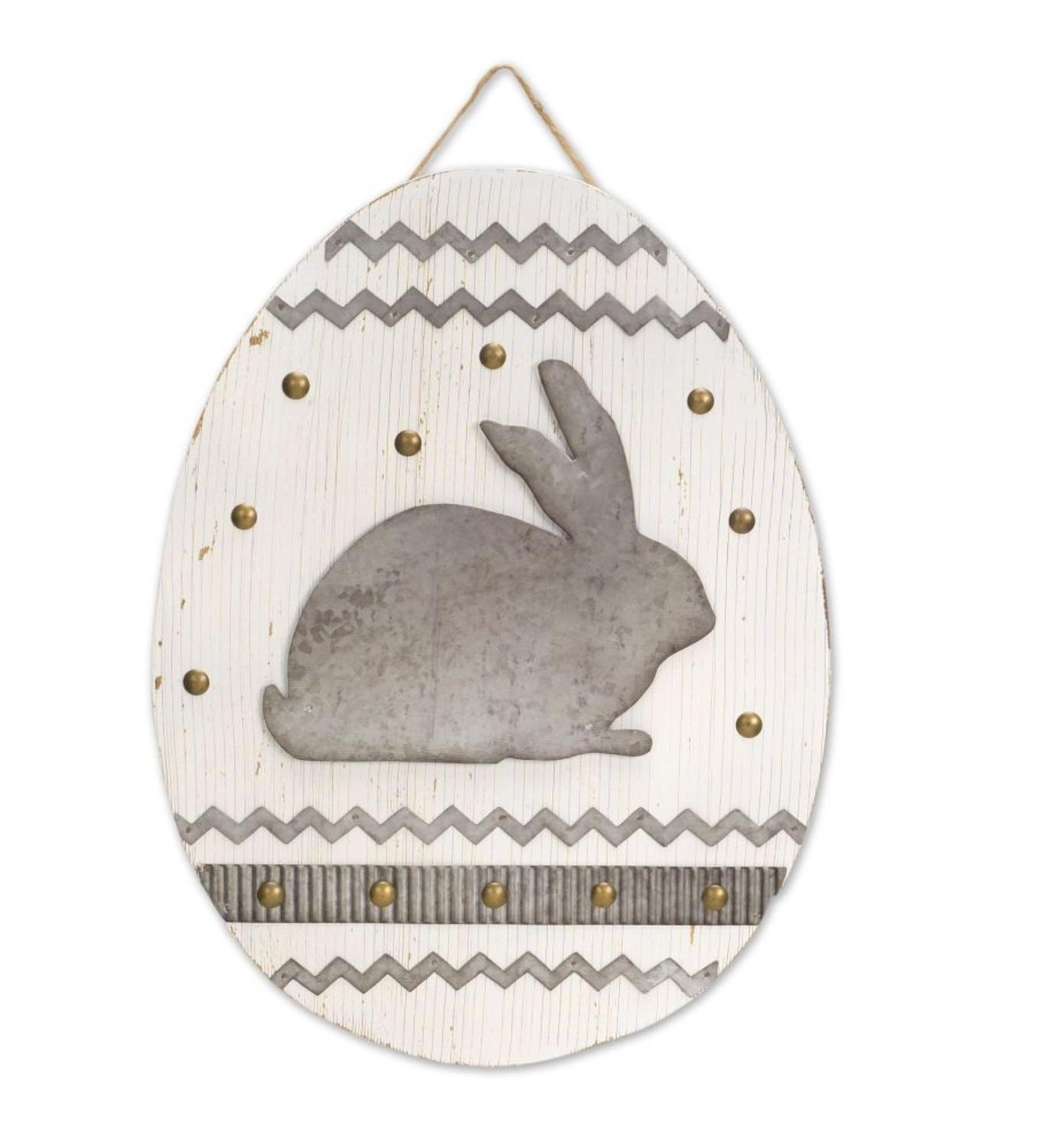 """Pack of 2 Cobalt Gray and White Easter Egg Plaque with Rabbit 15"""""""