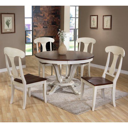 Baxton Studio Napoleon Chic Country Cottage 5 Piece Round Dining Table Set