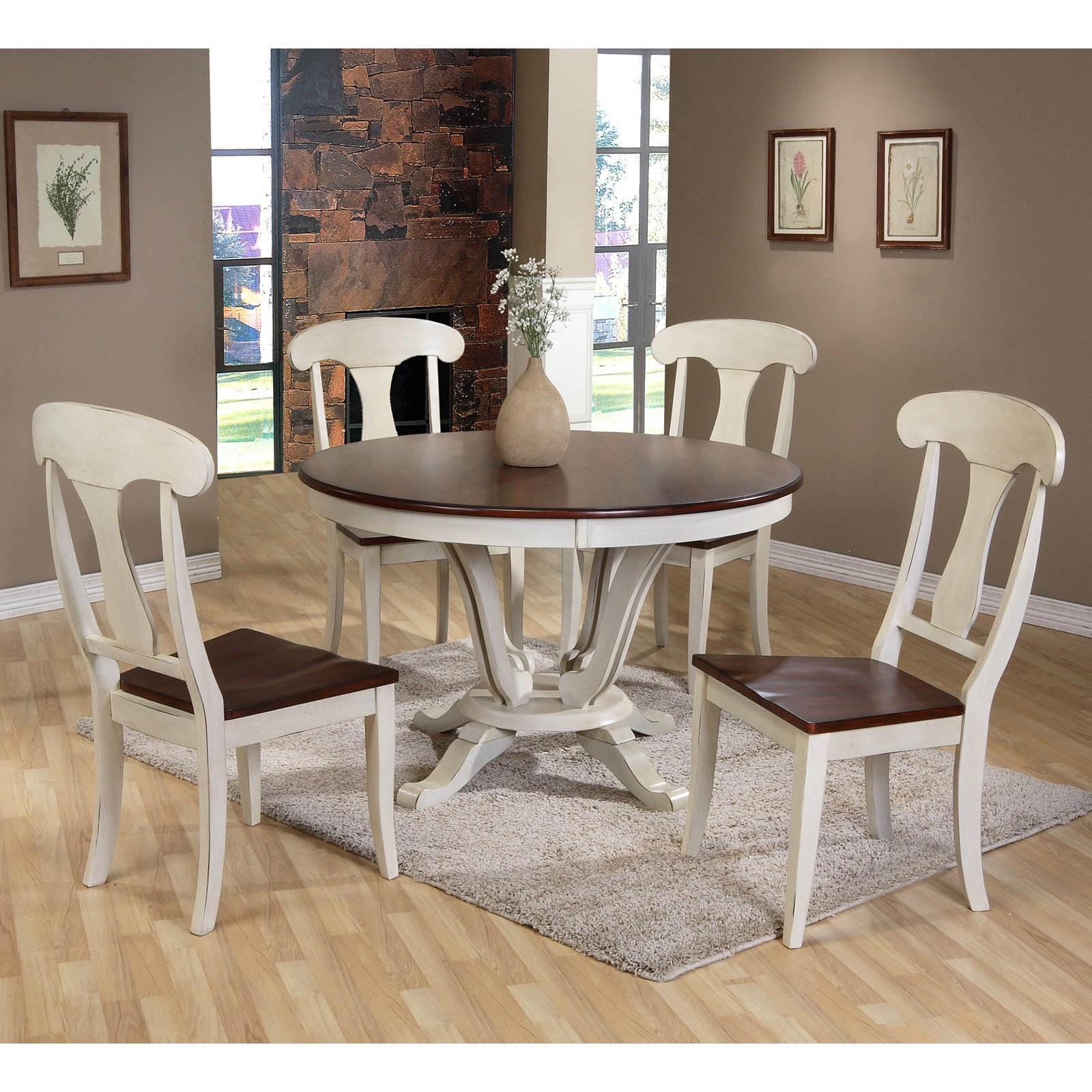 Ordinaire Baxton Studio Napoleon Chic Country Cottage 5 Piece Round Dining Table Set