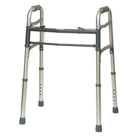 HEALTHLINE Walker Folding Deluxe 2 Button Without Wheels, Four-corner Non Slip Cane, Foldable Mobility Walker No Wheels For Adult Seniors Disabled, Lightweight, Adjustable