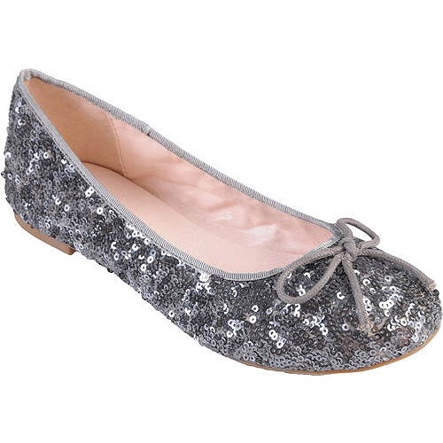 Brinley Co Womens Sequined Round Toe Ballet Flats