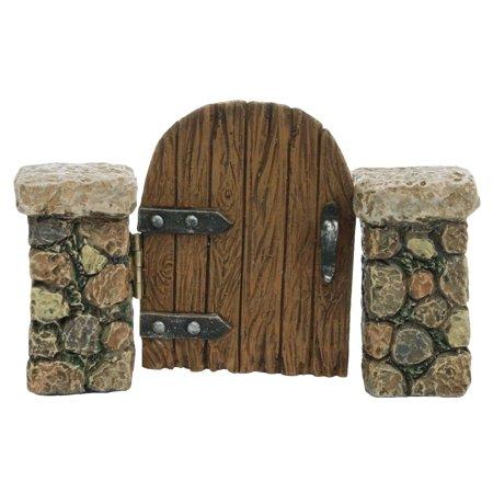 Miniature Stone Pillar Wood Gate Fairy Garden Door Ornament Dollhouse (Stone Wood Mall)