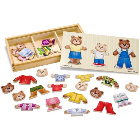 - Melissa & Doug Mix 'n Match Wooden Bear Family Dress-Up Puzzle with Storage Case, 45pc
