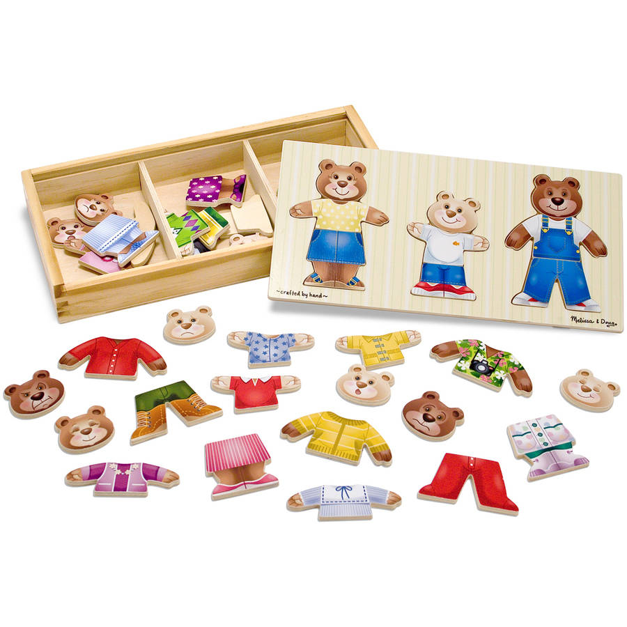 Melissa & Doug Mix 'n Match Wooden Bear Family Dress-Up Puzzle with Storage Case, 45pc