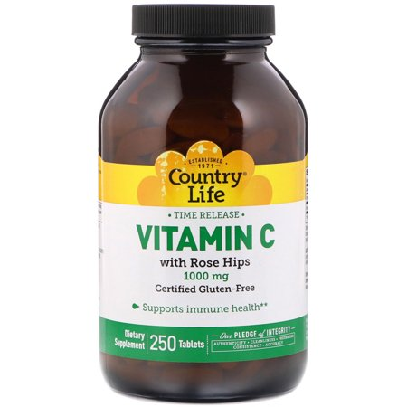 Country Life  Vitamin C  with Rose Hips  1000 mg  250 Tablets