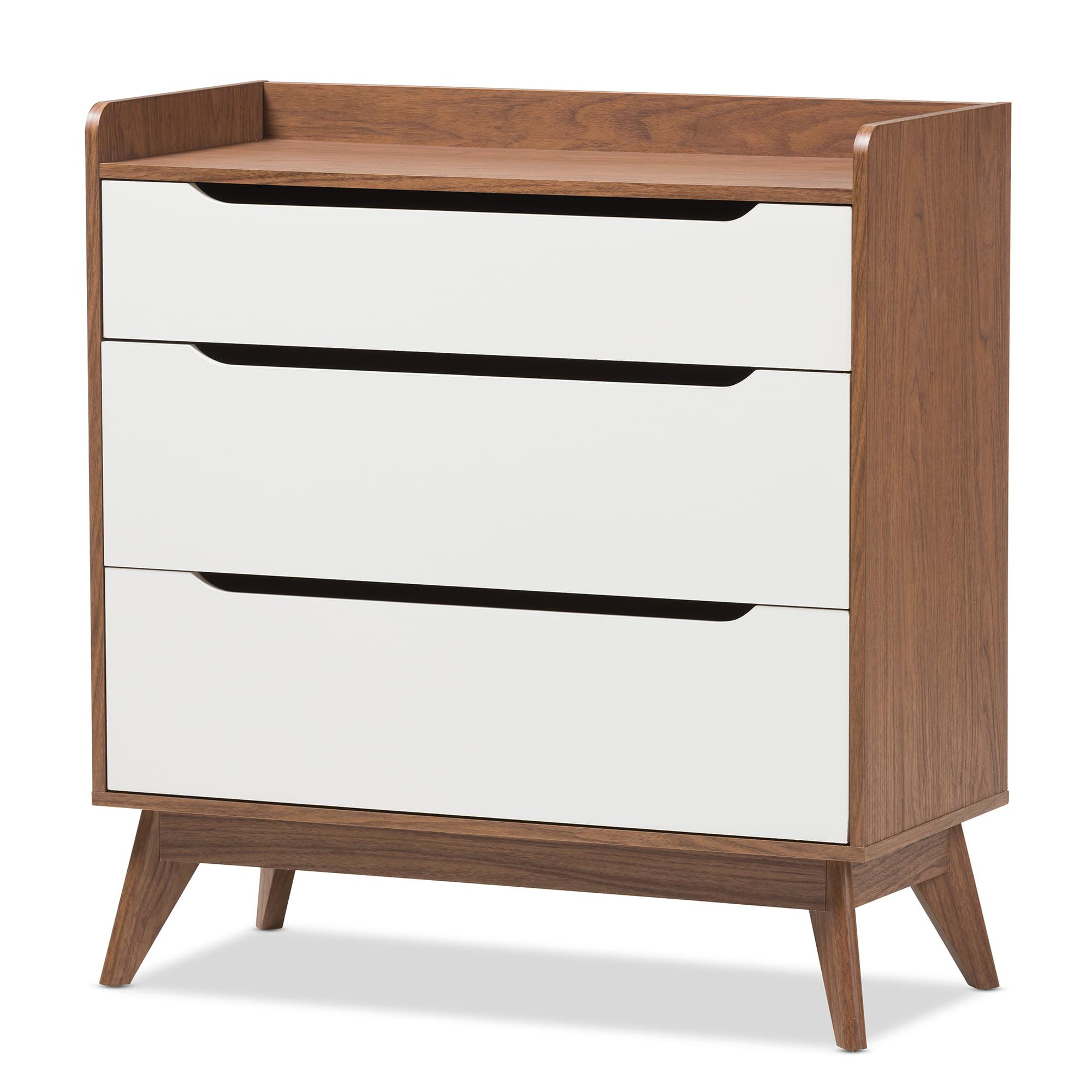 Baxton Studio Brighton Mid-Century Modern White and Walnut Wood 3-Drawer Storage Chest
