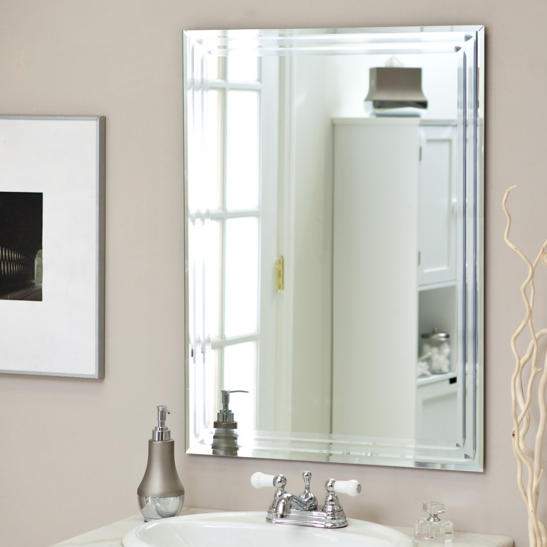 Large 31 5 X 23 6 Rectangular Bathroom Tri Bevel Wall Mirror By Decor Wonderland Walmart Com Walmart Com