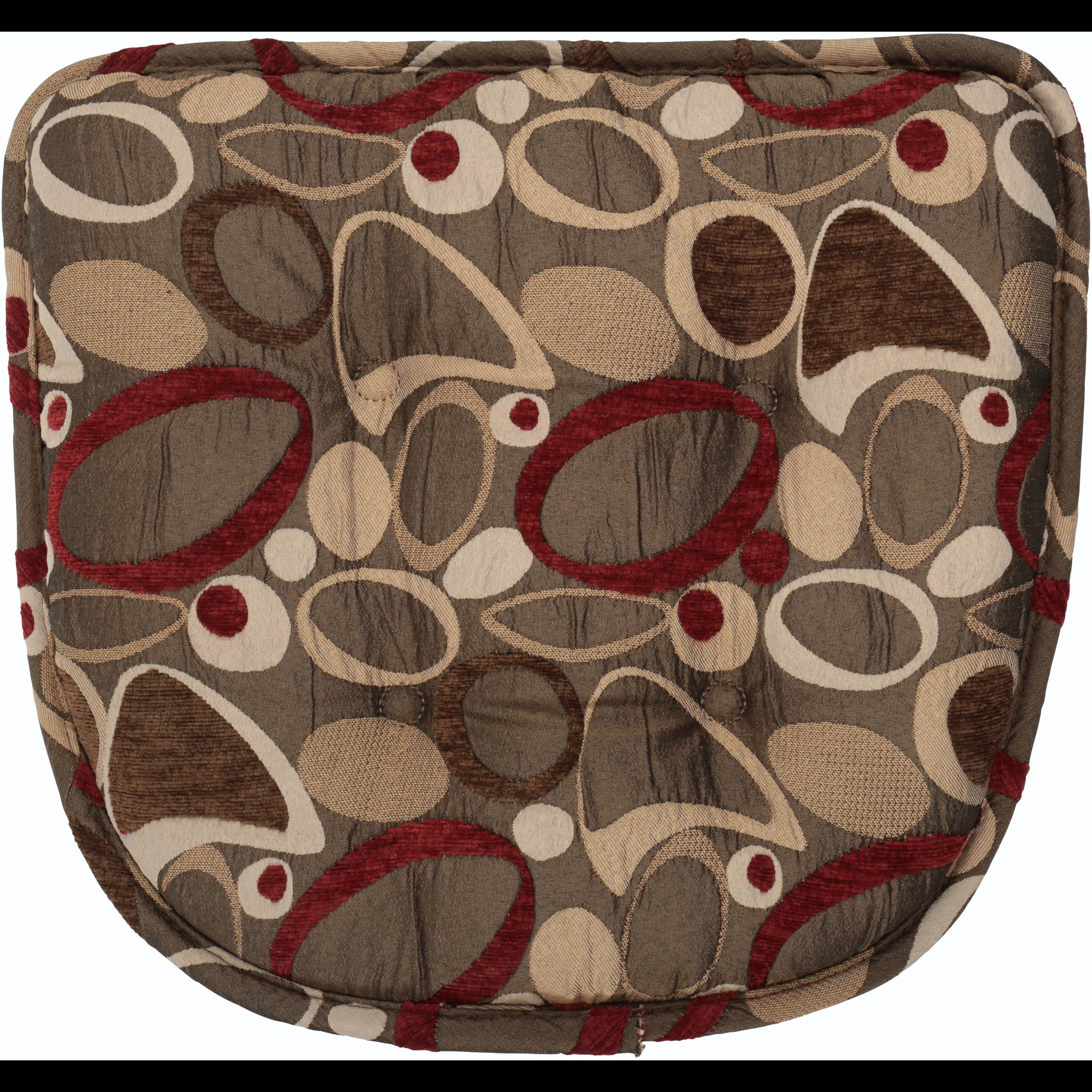 "Gripper Non Slip 16"" x 15"" x 2"" Red Circles Chair Cushion"