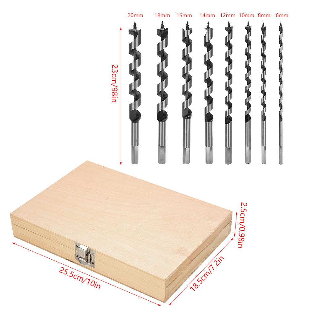 5 pc Auger Drill Bit Set Durable Carbon Steel Precision Machines for Accuracy
