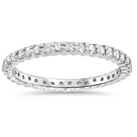 1/2CT Diamond Eternity Ring 10k White Gold Womens Stackable Engagement Band (White Gold Engagement Eternity Ring)