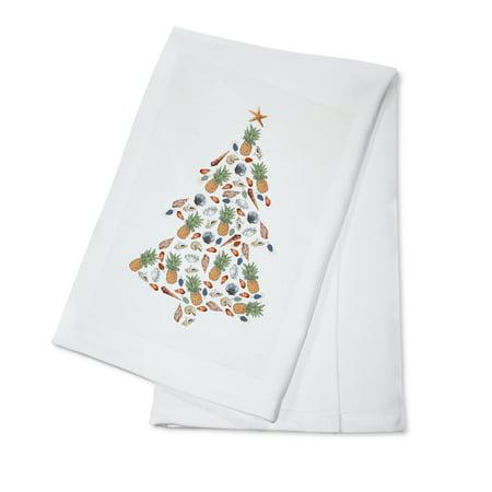 Tropical Christmas Tree - Holiday - Lantern Press Artwork (100% Cotton Kitchen Towel)