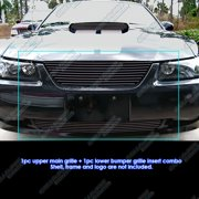 Compatible with 1999-2004 Ford Mustang Black Billet Grille Combo F87990H