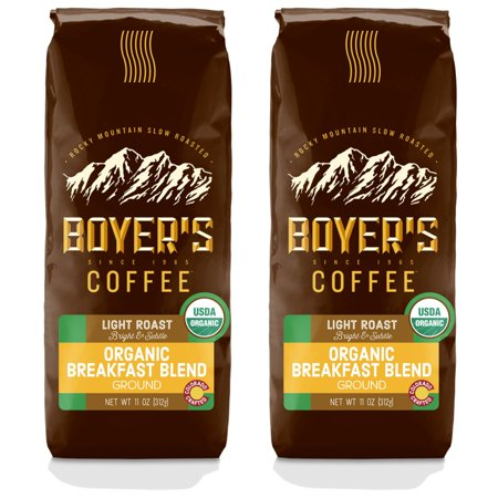 Boyer's Coffee Organic Breakfast Blend, Ground Coffee, Light Roast, 2-Pack (1.5lb)