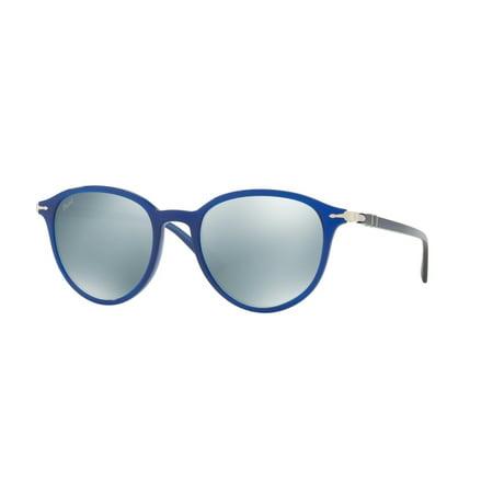 Persol PO 3169S 1051/30 Blue Green / Mirror Silver Plastic Oval Sunglasses NIB ()
