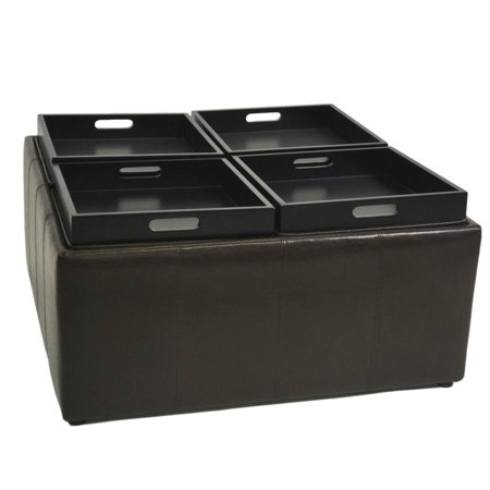 Viscologic Collection Square Tray Top Storage Ottoman With