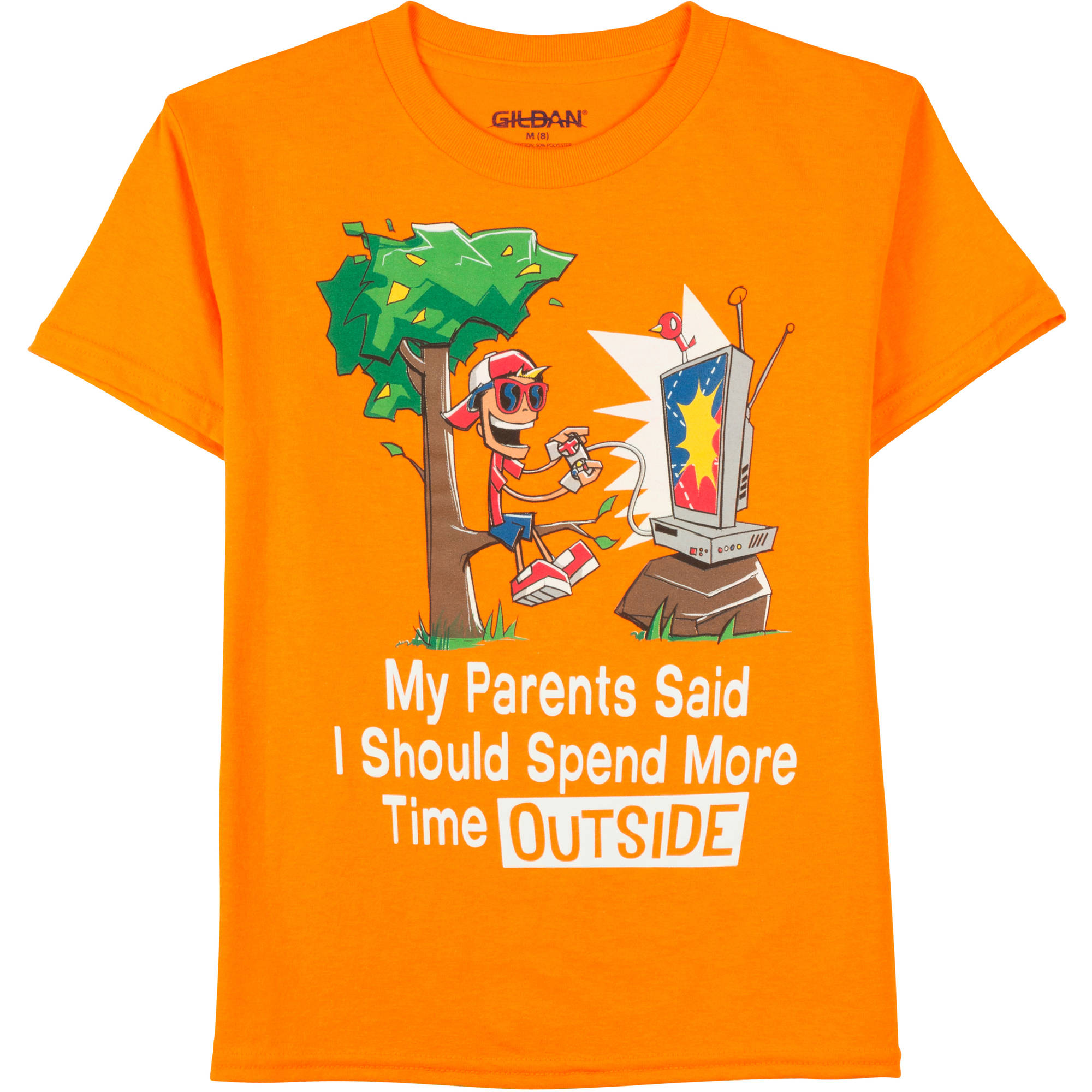 Boys Video Games Outside Graphic Tee