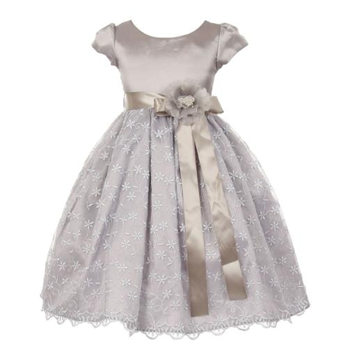 Big girls silver organza lace taffeta embroidered floral christmas