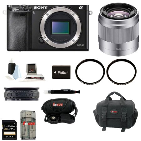 Sony Alpha A6000 Mirrorless Digital Camera (Body) with 50mm Lens Bundle and 32GB Deluxe Accessory Kit