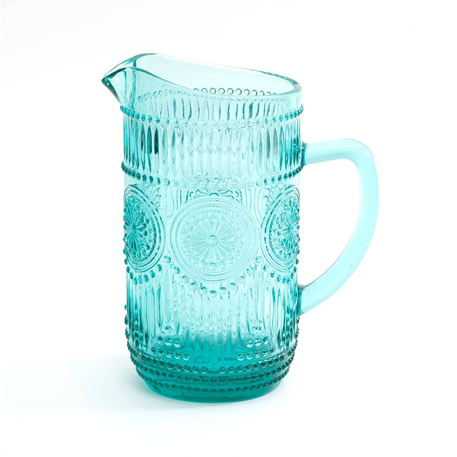 The Pioneer Woman Adeline 1.59-Liter Glass Pitcher, Turquoise, blue color By poineer