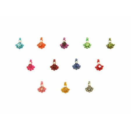 Beachcombers Tiny Rainbow Indian Bollywood Face Bindi Crystal Dots Body Stickers 12 Pack - Bollywood Decorations