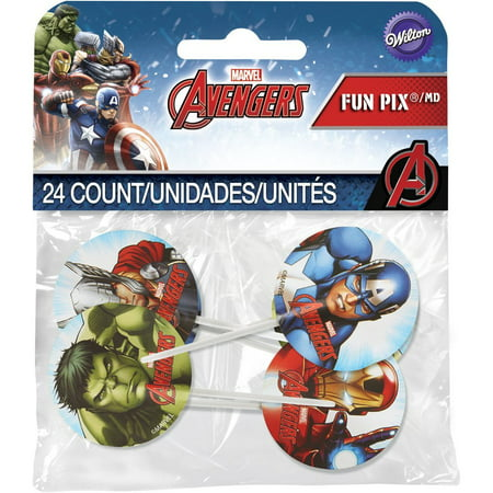Wilton Marvel Avengers Fun Pix Cupcake - Glow In The Dark Cupcake Toppers