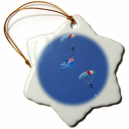 3dRose RNZAF Sky Diving, Warbirds over Wanaka, New Zealand - AU02 DWA7122 - David Wall, Snowflake Ornament, Porcelain, 3-inch