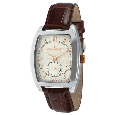 Men's 2027 Two-Tone Watch with Embossed Leather Strap Croc Embossed Strap Watch