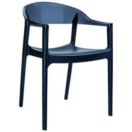 Carmen Modern Dining Chair White Seat Transparent Black