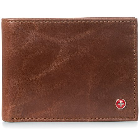 Alpine Swiss RFID Safe Mens Deluxe Wallet Genuine Leather 14 Pocket ID Bifold