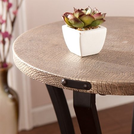 Southern Enterprises Libson Round Accent Table in Blackwashed Gold - image 5 of 6