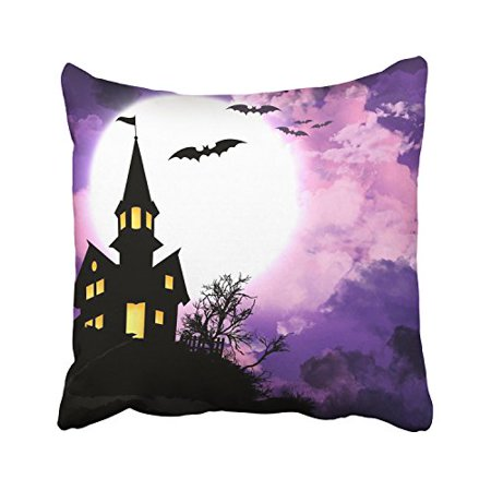 WinHome Happy Halloween Bats Light Moon Terror Castle And Purple Cloud Decorative Pillowcases With Hidden Zipper Decor Cushion Covers Two Sides 20x20 inches - Happy Cloud Halloween