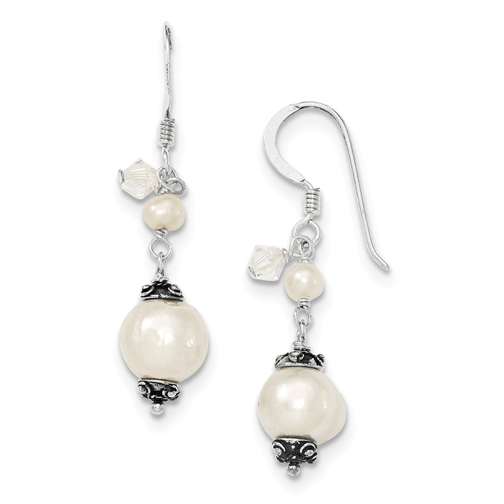 Sterling Silver White Cultured Pearl & Crystal Antiqued Dangle Earrings (1.5IN x 0.3IN )