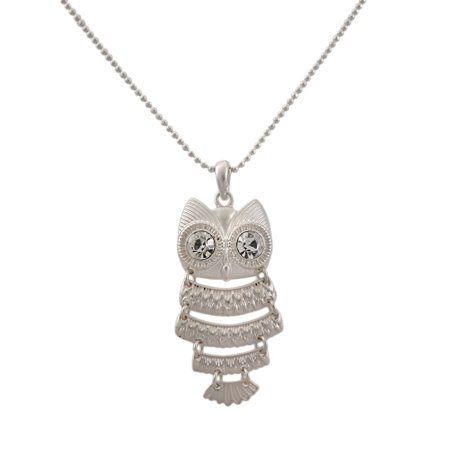Matte Silver Segmented Owl Pendant with Ball Chain