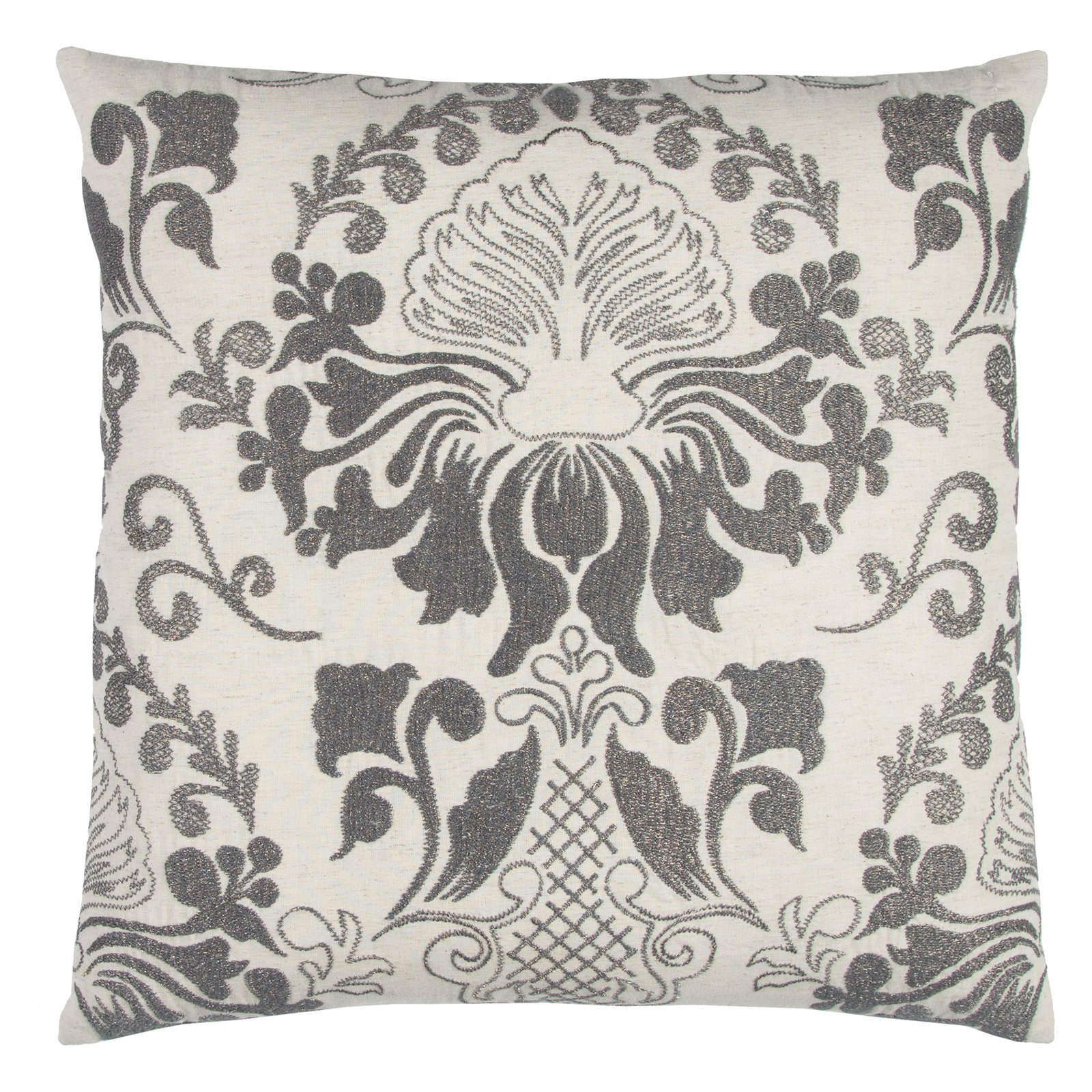 "Rizzy Home Decorative Poly Filled Throw Pillow Damask 20""X20"" Gray"