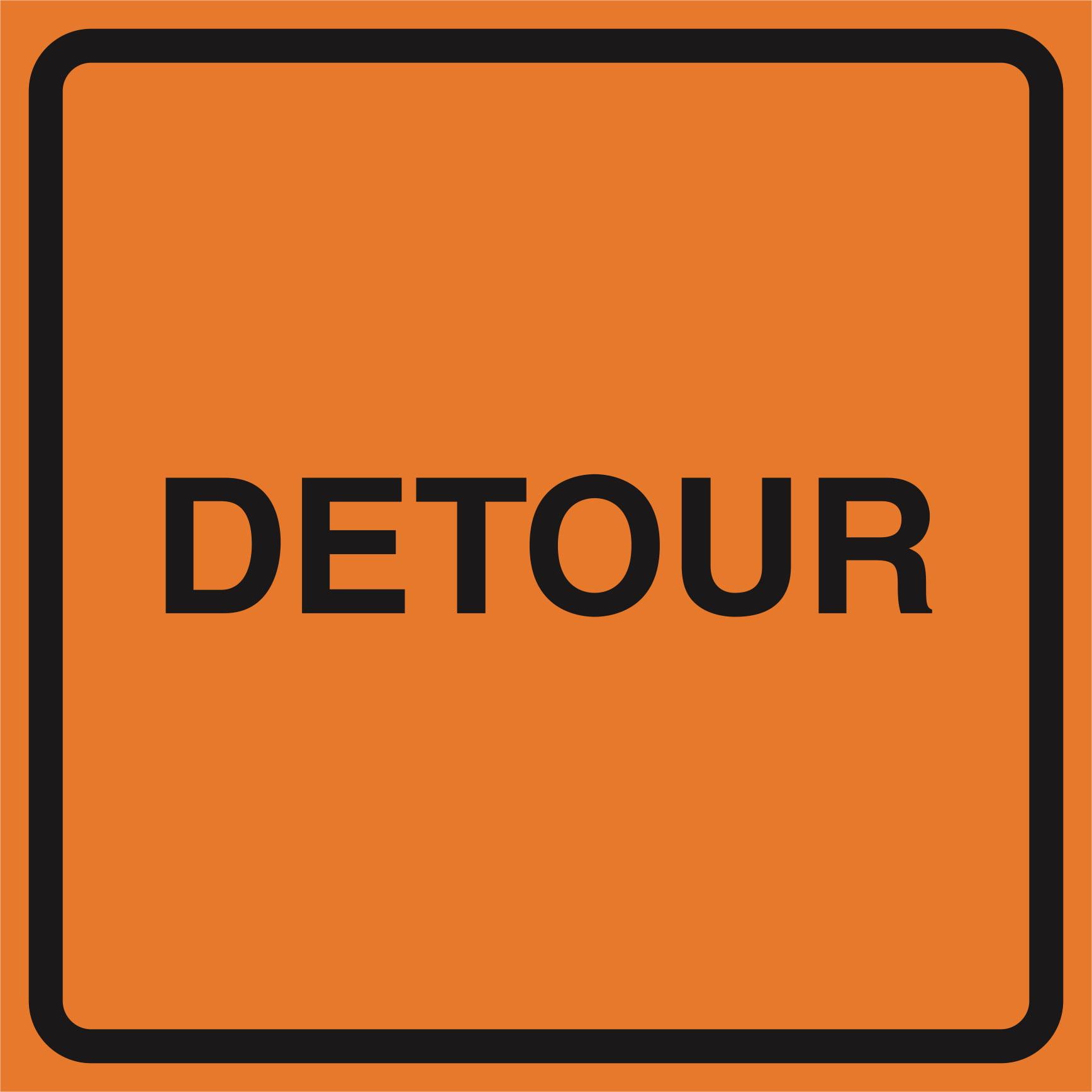 Detour Orange Construction Work Zone Area Job Site Notice