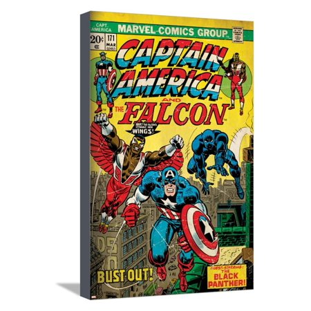 Marvel Comics Retro Style Guide: Falcon, Captain America Stretched Canvas Print Wall Art