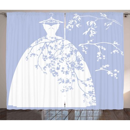 Bridal Shower Curtains 2 Panels Set Wedding Bride Dress With Floral Swirl Details Image Artowrk Print
